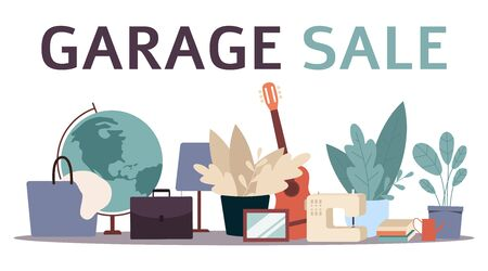 Garage sale banner with flat cartoon furniture objects arranged on the floor - house plants, guitar, books and others. Flea market old stuff clutter - isolated vector illustration Illustration