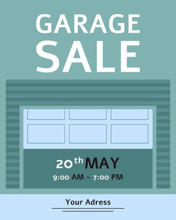 Garage Sale advertising inviting banner or flyer with text flat vector illustration. House old goods reusing and sale informative poster, business invitation.