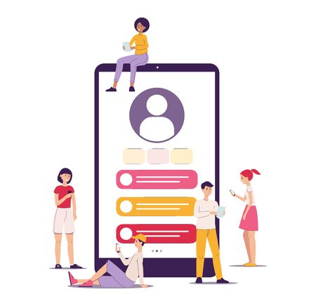Customer workspace in the application and on the social network, personal account, client profile. Customer workspace concept with people, smartphone and dashboard. Isolated flat vector illustration.