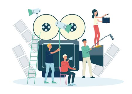 Filmmakers staff working, people cartoon characters with giant camera. Movie films and video production crew flat vector illustration isolated on white background.