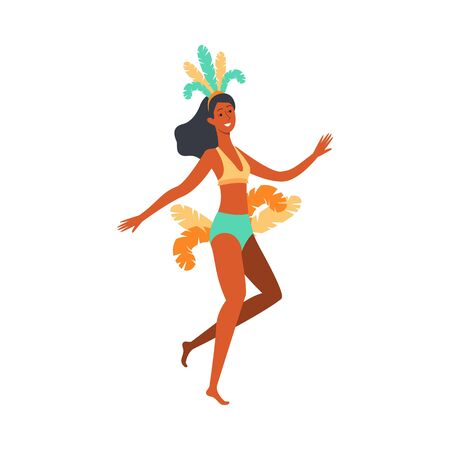 Brazil carnival dancer woman in colorful feather headdress with feather tail jumping in dancing pose and smiling, happy samba performer - isolated flat vector illustration. Illustration