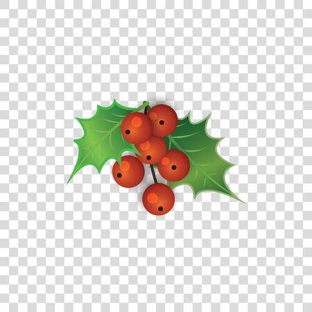 Czerwone jagody ostrokrzewu z zielonymi liśćmi na przezroczystym tle - śliczna świąteczna ozdoba jagodowa roślina w stylu cartoon - ilustracja wektorowa kolorowe gałązki