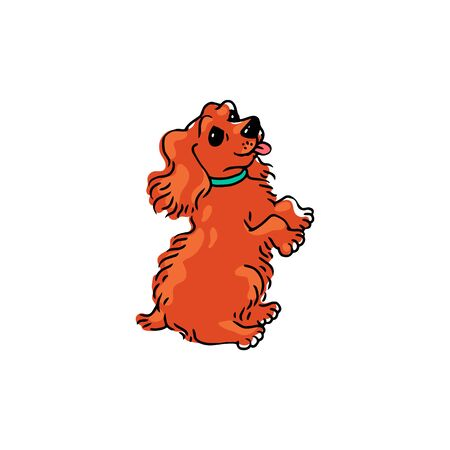 Cute cartoon dog standing on its hind legs with tongue out - playful pet animal with orange fur asking for something.