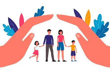 Family insurance concept with mother, father and children cartoon characters under protecting hands palms