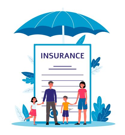 Familieverzekering - tekenfilmmensen die zich dichtbij reusachtig contractdocument met tekst onder grote paraplu bevinden.
