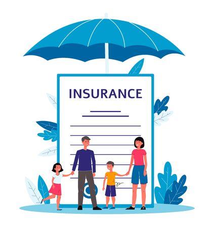 Seguro familiar: gente de dibujos animados de pie junto a un documento de contrato gigante con texto bajo un gran paraguas
