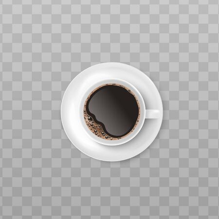 White cup of black coffee with realistic foam froth seen from top view isolated on transparent