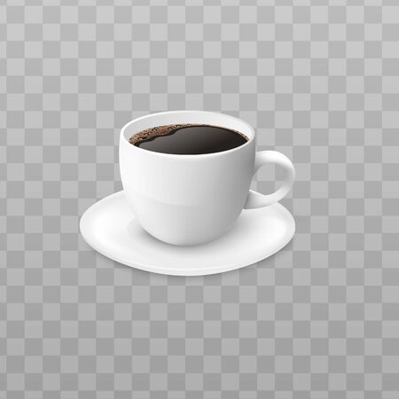 Realistic cup of black coffee in white cup Çizim
