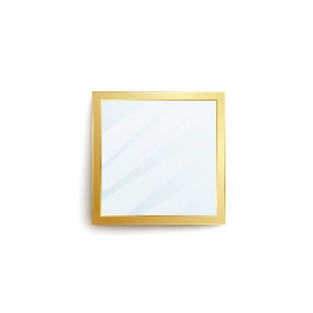 Realistic square mirror with golden frame and blank reflection surface isolated on white