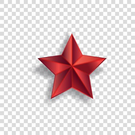 Red star symbol with realistic shadow and pointed shape isolated on transparent