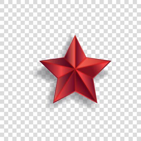 Symbol czerwonej gwiazdy z realistycznym cieniem i spiczastym kształtem na przezroczystym tle