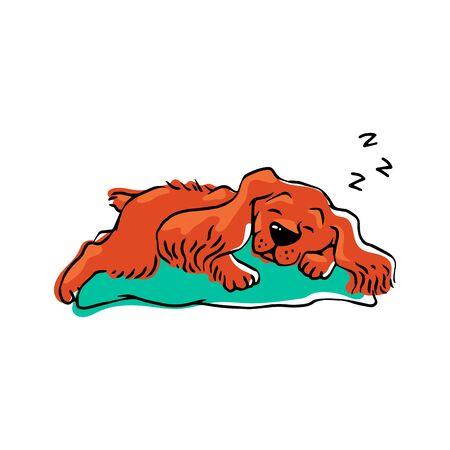 Cute pet dog sleeping on a pillow. Hand drawn cartoon orange animal taking a nap lying in comfortable position Illustration