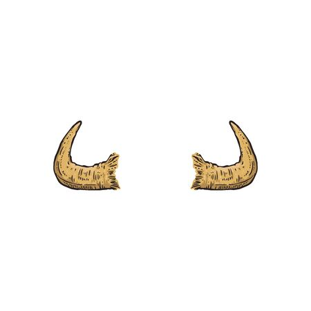 Buffalo, cow or antelope hand drawn horns the cartoon  isolated on white