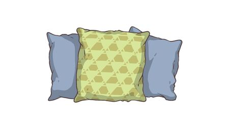 A set of soft comfy blue and green pillows for the sofa and bed, for sleeping and relaxing. Illustration