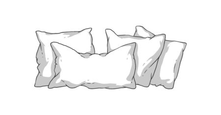 Hand drawn white pillow stack - soft bedding pillows in rectangle and square shape isolated on white Illustration