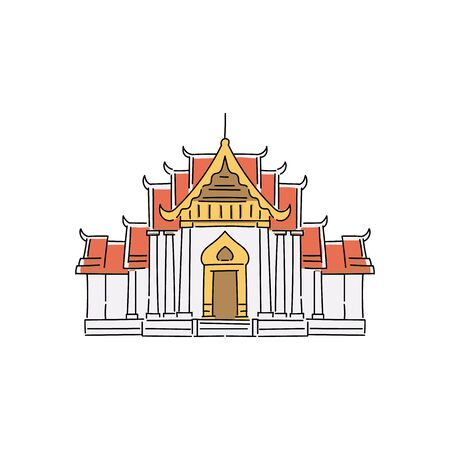 Buddhist temple or palace building, asian architecture traditional pagoda house icon. Illustration