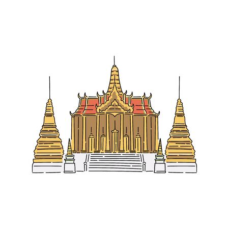 Buddhist temple buildings in Thailand vector cartoon  in sketch style isolated on white