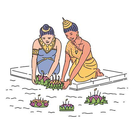 Women floating a basket on Loy Krathong holiday