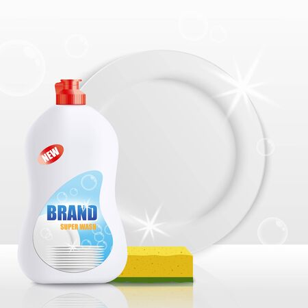 Dish soap bottle mockup with clean white plate and yellow sponge