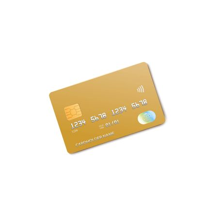 Golden credit card mockup isolated on white Ilustração