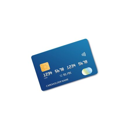 Realistic blue plastic bank card isolated on white Ilustração