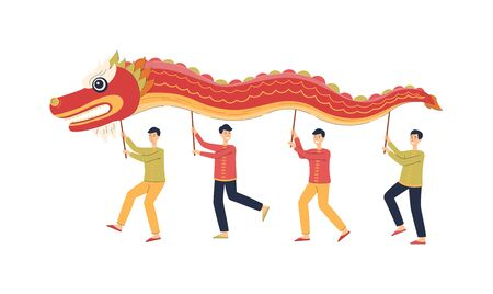 Chinese men dancing while holding red dragon mascot over their head - national China holiday festival tradition. Banco de Imagens - 130805606