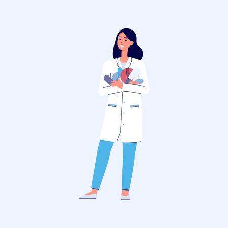 Cartoon pharmacist woman holding big pile of pills Illustration