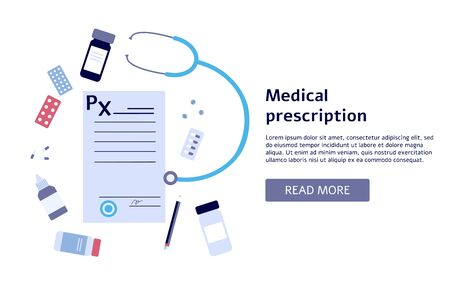 Medical prescription banner with flat document surrounded by medicine and stethoscope Illustration