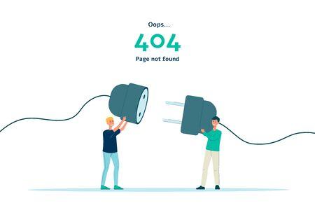 Error 404: banner aislado de página no encontrada. Gente de dibujos animados plana con enchufe desenchufado tratando de conectarlo.