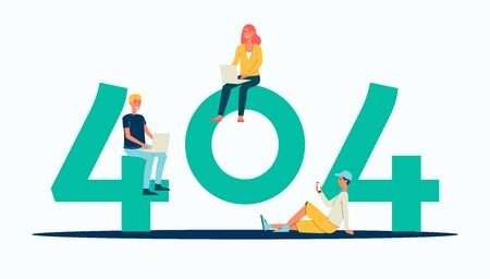 404 error code banner - cartoon people sitting near giant digits isolated on white