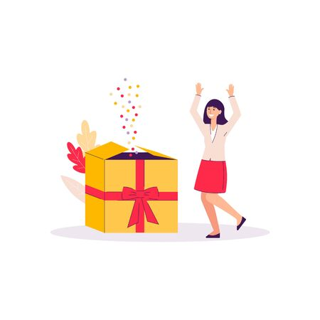 Cartoon woman happy from giant gift box with colorful flying confetti - girl receiving bonus present isolated on white Ilustração