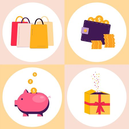Shopping bonus and discount - flat drawing set isolated on white Vetores