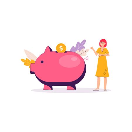 Piggy bank money savings banner - cartoon woman standing near giant pink pig toy and putting golden coin.