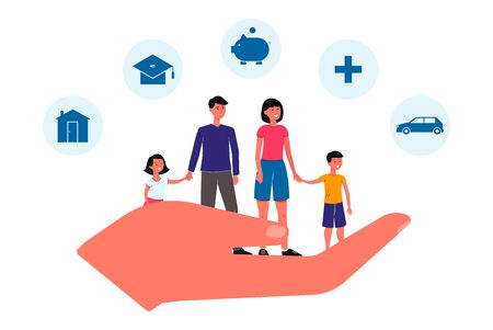 Family insurance banner - giant hand holding cartoon people isolated on white