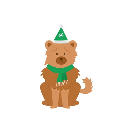 Cartoon chow chow dog wearing green Christmas hat and scarf sitting isolated on white background - domestic animal in festive clothes, flat vector illustration. Illustration