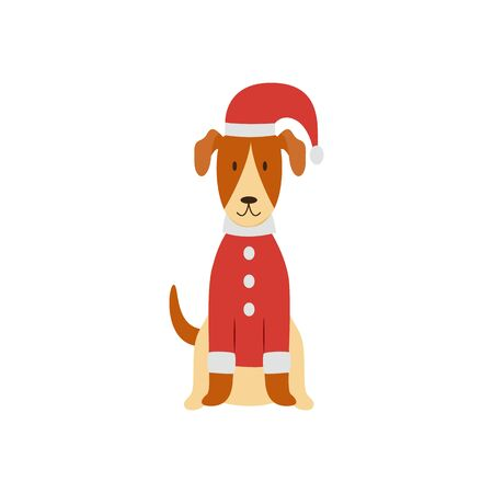 A cute Smooth Fox Terrier is standing in a Christmas red costume, hat and cap. 向量圖像