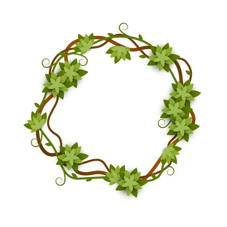Round and circle frame of vines and leaves with lianas, concept of jungle and rain forest.
