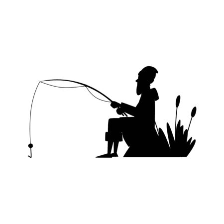 Fisher man black silhouette cartoon character  isolated on white Illustration