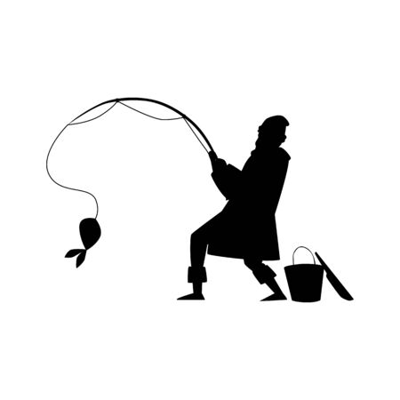Black silhouette of a male fisherman, a man catches a fish. Иллюстрация