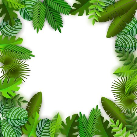 Tropical jungle background with palm trees leaves and copy space for text vector illustration isolated on white. Green summer foliage exotic frame for advertising. Stock Illustratie