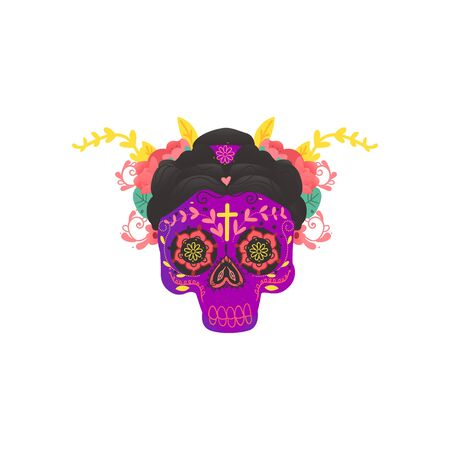 Colorful purple Mexican female skull with hand drawn decoration elements and flowers in black hair. Dia de los muertos holiday symbol - vector illustration. Stock Illustratie