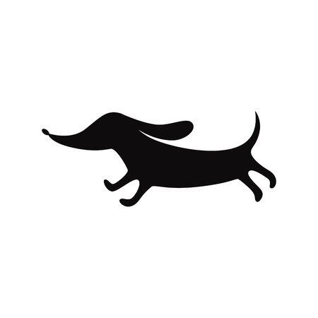 Funny dog dachshund is running. 矢量图像