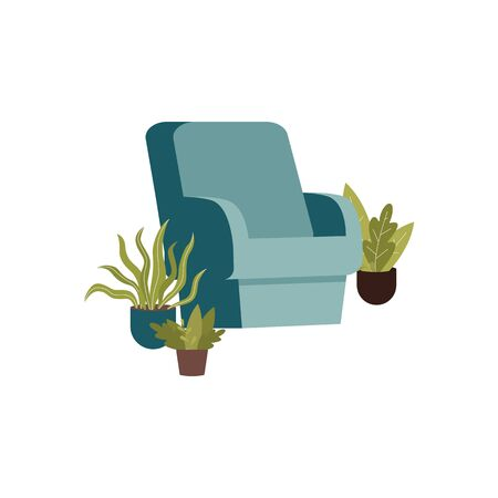 Blue arm chair surrounded by green potted plants isolated on white Stock Illustratie