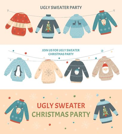 Ugly Christmas sweater party banner set with different colorful holiday jumpers with deer, Santa, snowman and others.