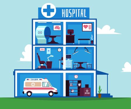 Hospital or healthcare clinic rooms interiors with medical equipment