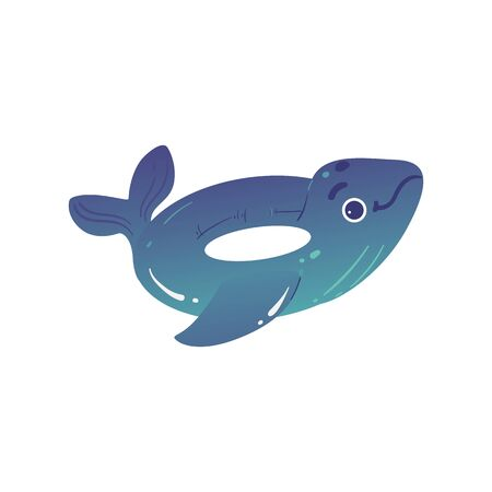 Dolphin shaped inflatable glossy circle or ring for swimming. Lifebuoy for water, sea and pool. Isolated vector cartoon illustration of rubber ring. 向量圖像