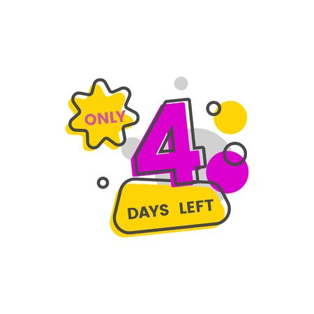 Only four days left - marketing sale date countdown, day 4 until limited time promotion end Banque d'images - 130800940