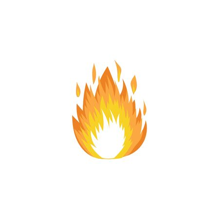 Hot fire flame icon isolated on white