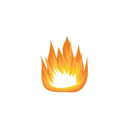 Fire flames and effect of burning lights, cartoon vector illustration isolated on white background. Icon or symbol of fire for game design and creative element.