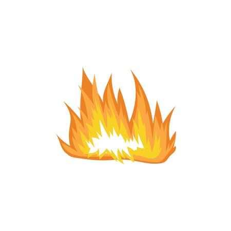 Fire flames sign or burning blazes cartoon vector illustration isolated on white background. Icon or symbol of forest camping fire for game design element.